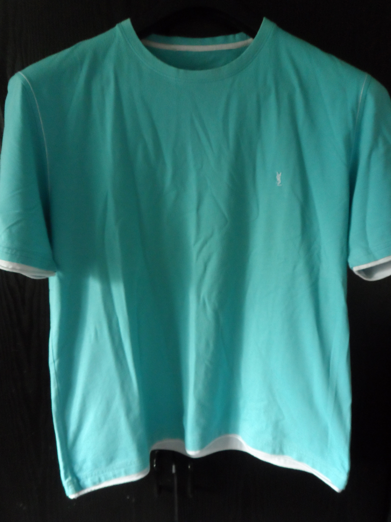 ysl yves saint laurent t shirt teal with contrast trim in. Black Bedroom Furniture Sets. Home Design Ideas