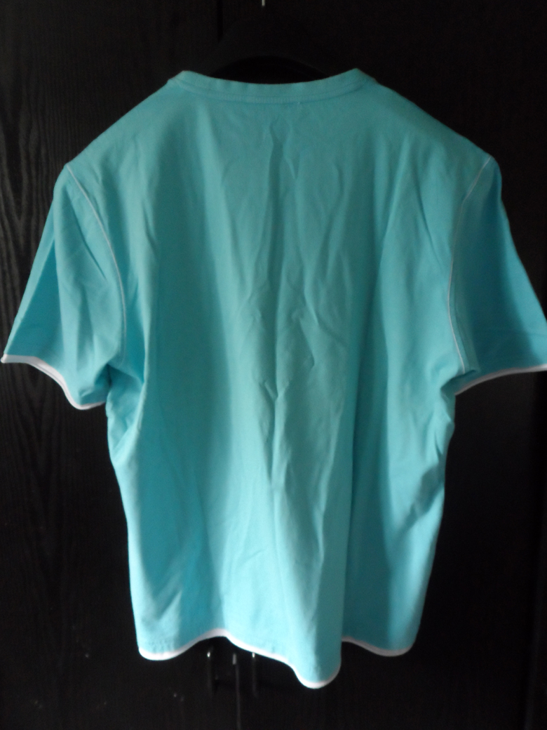 Ysl Yves Saint Laurent T Shirt Teal With Contrast Trim In
